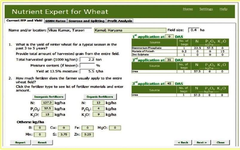 Nutrient expert for wheat